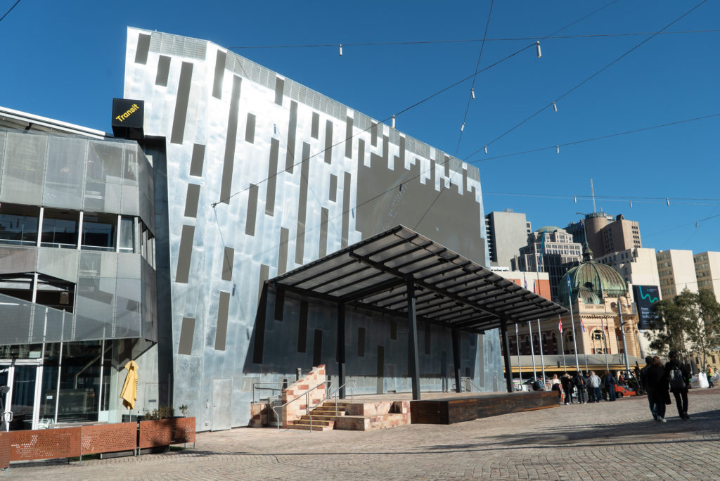 FedSquare 22 1024x684 - Fed Square Digital Facade Project Using Rheinzink® Mill Finish Flatlock