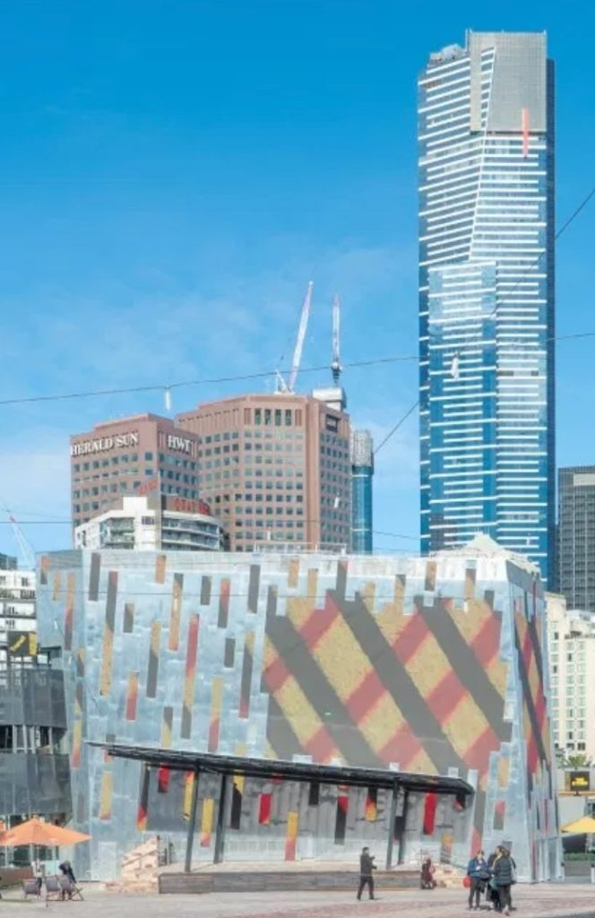 Fed Square Digital Facade Project Using Rheinzink® Bright Rolled Mill Finish Profiles 664x1024 - Projects