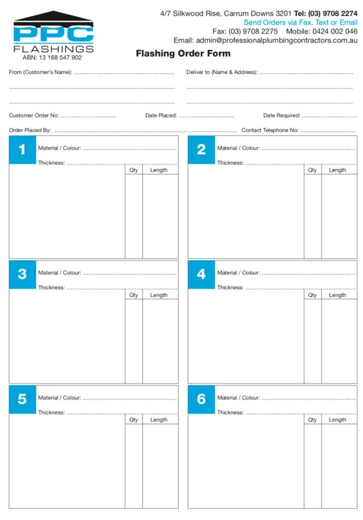 Order Pads pdf 714x1024 - PPC Flashings
