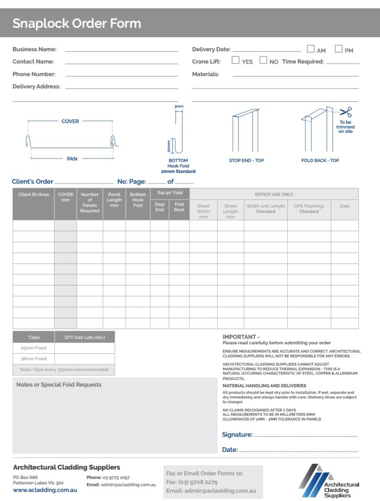 Snaplock Order Form pdf 778x1024 - Snaplock Metal Cladding and Roofing