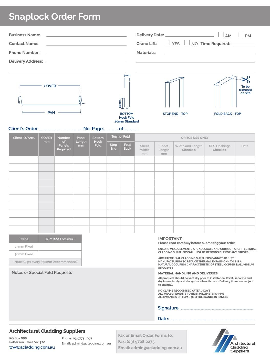 ACS Snaplock Order Form