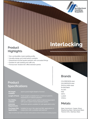 Interlocking metal cladding brochure