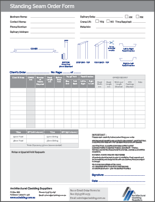 Standing Seam panel order form